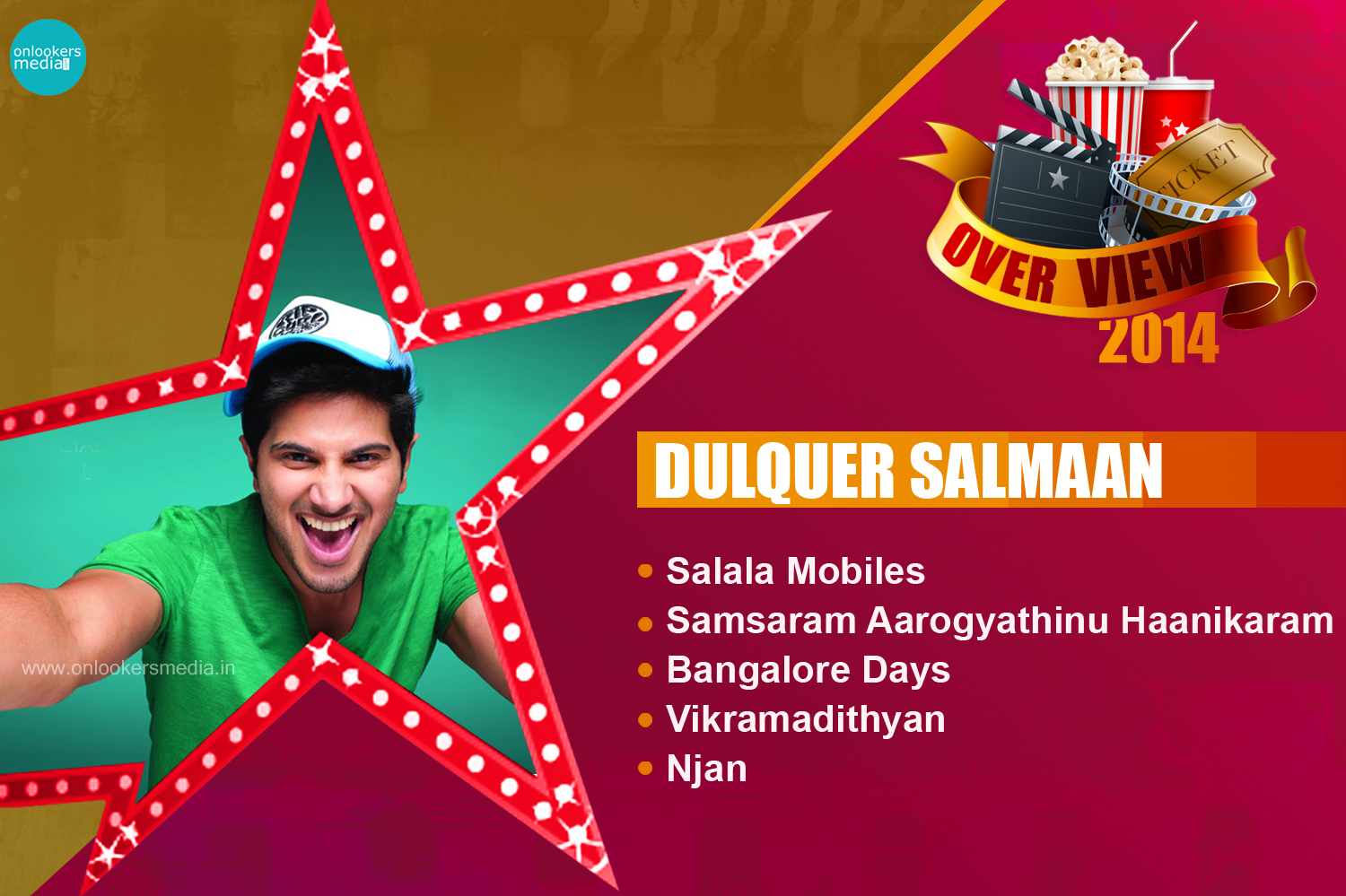 Dulquer Salmaan 2014 Overview-Report-Hit Flop Movie List-Vikramadithyan-Banglore Days-Njan-Salala Mobiles-Samsaram Arogyathinu Hanikaram-Onlookers Media