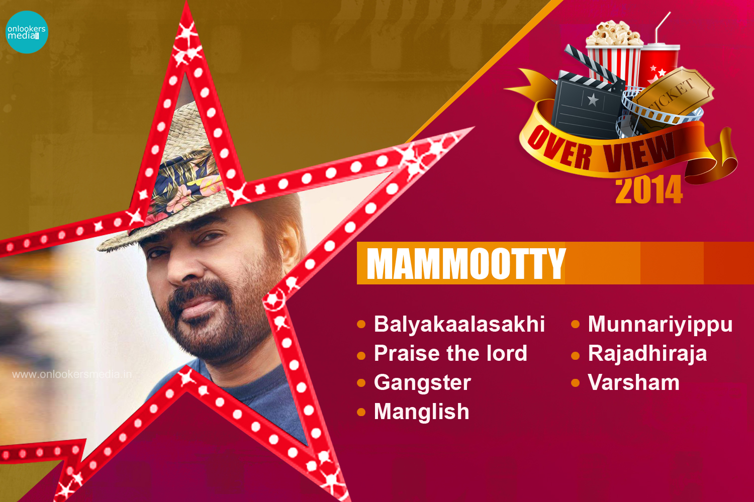 Mammootty 2014 Overview-Report-Hit Flop Movie List-Varsham, Munnariyippu, Rajadhiraja, Gangster-Onlookers Media