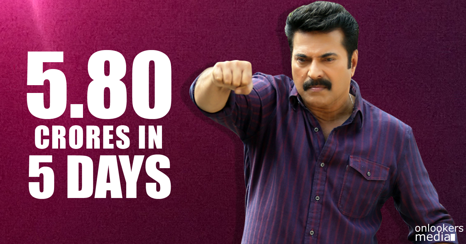 Bhaskar The Rascal 5th day collection report-Mammootty-Nayanthara-Onlookers Media