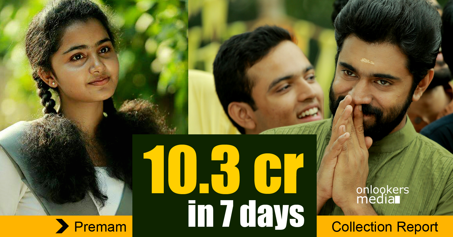 Premam first week collection report-Nivin Pauly-Sai Pallavi-Anupamam Parameswaran-Madonna Sebastine-Onlookers Media
