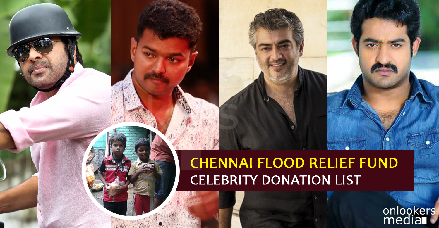 Chennai floods, star donation for Chennai floods, Celebrity donation list chennai floods, actors helping chennai flood relief