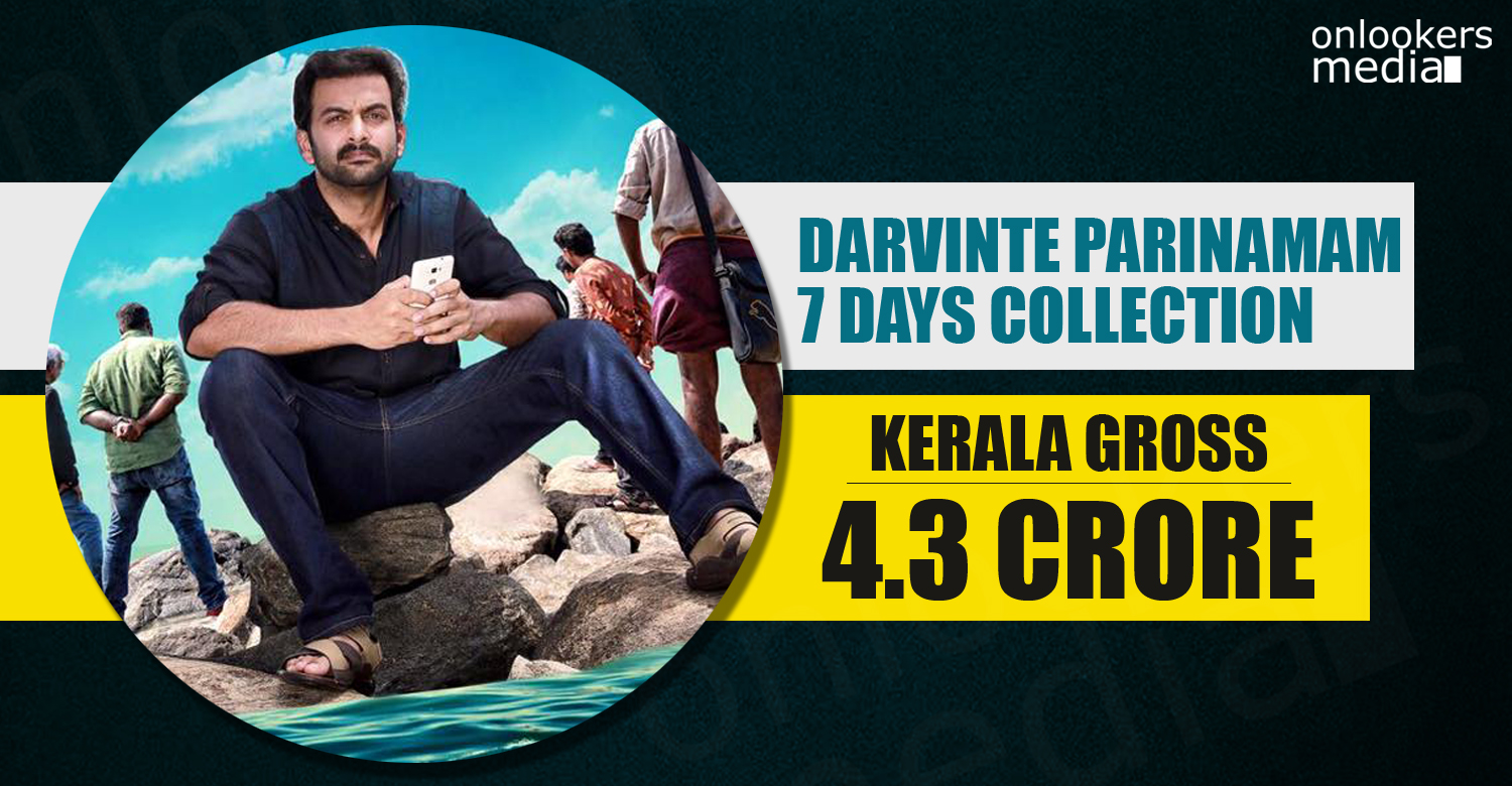 Darvinte Parinamam, Darvinte Parinamam Collection Report, Darvinte Parinamam 7 Days collection, Darvinte Parinamam hit or flop, prithviraj hit flop movie 2016,