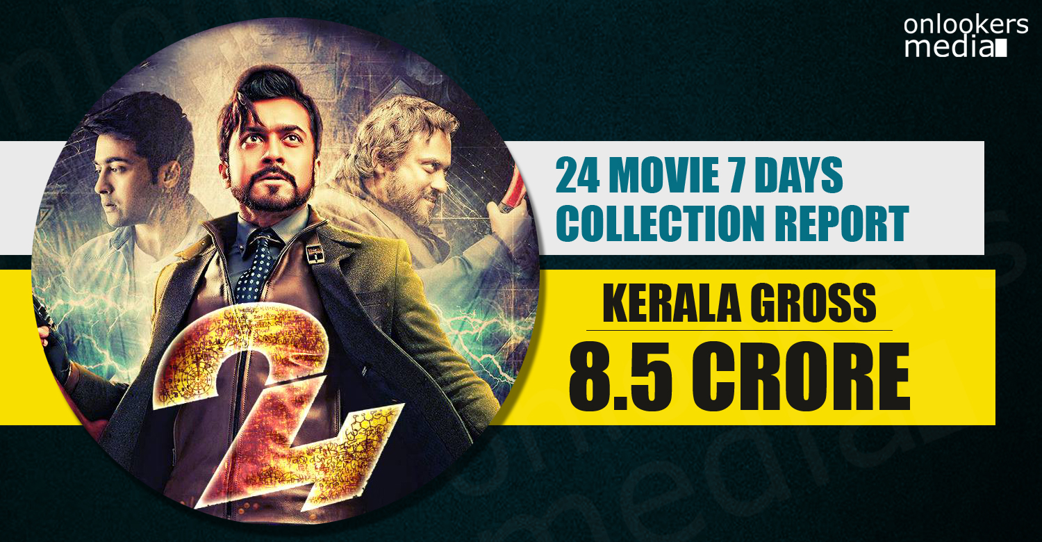 24 Movie Kerala Collection, 24 Movie, 24 Movie collection, 24 Movie 100 crore collection, suriya in 24 Movie,