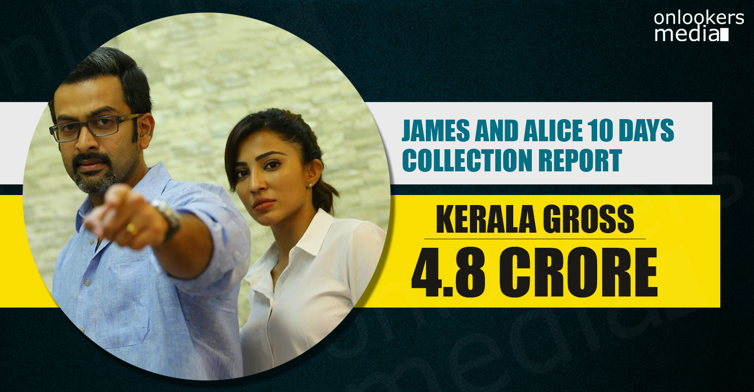 James and Alice Collection Report, James and Alice, prithviraj flop movies, Sujith Vasudev director, kerala box office collection