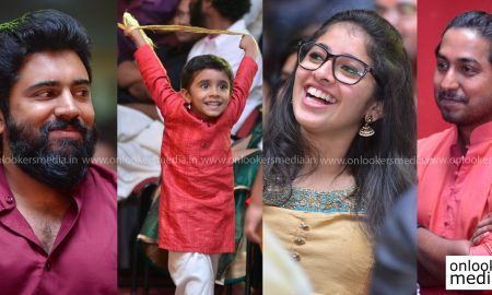 jacobinte swargarajyam 100 days celebration, jacobinte swargarajyam actress, nivin pauly family, daveed pauly nivin pauly son, vineeth sreenivasan wife, aju varghese family, aju varghese kids, rinna joy nivin pauly wife, aima sebastian, Reba Monica John, jacobinte swargarajyam real family