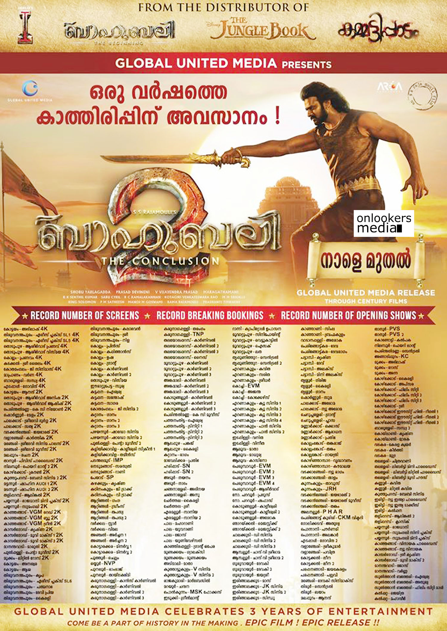 baahubali 2 latest news, baahubali 2 release, baahubali 2 kerala theatre list, latest malayalam news, baahubali 2 theatre list