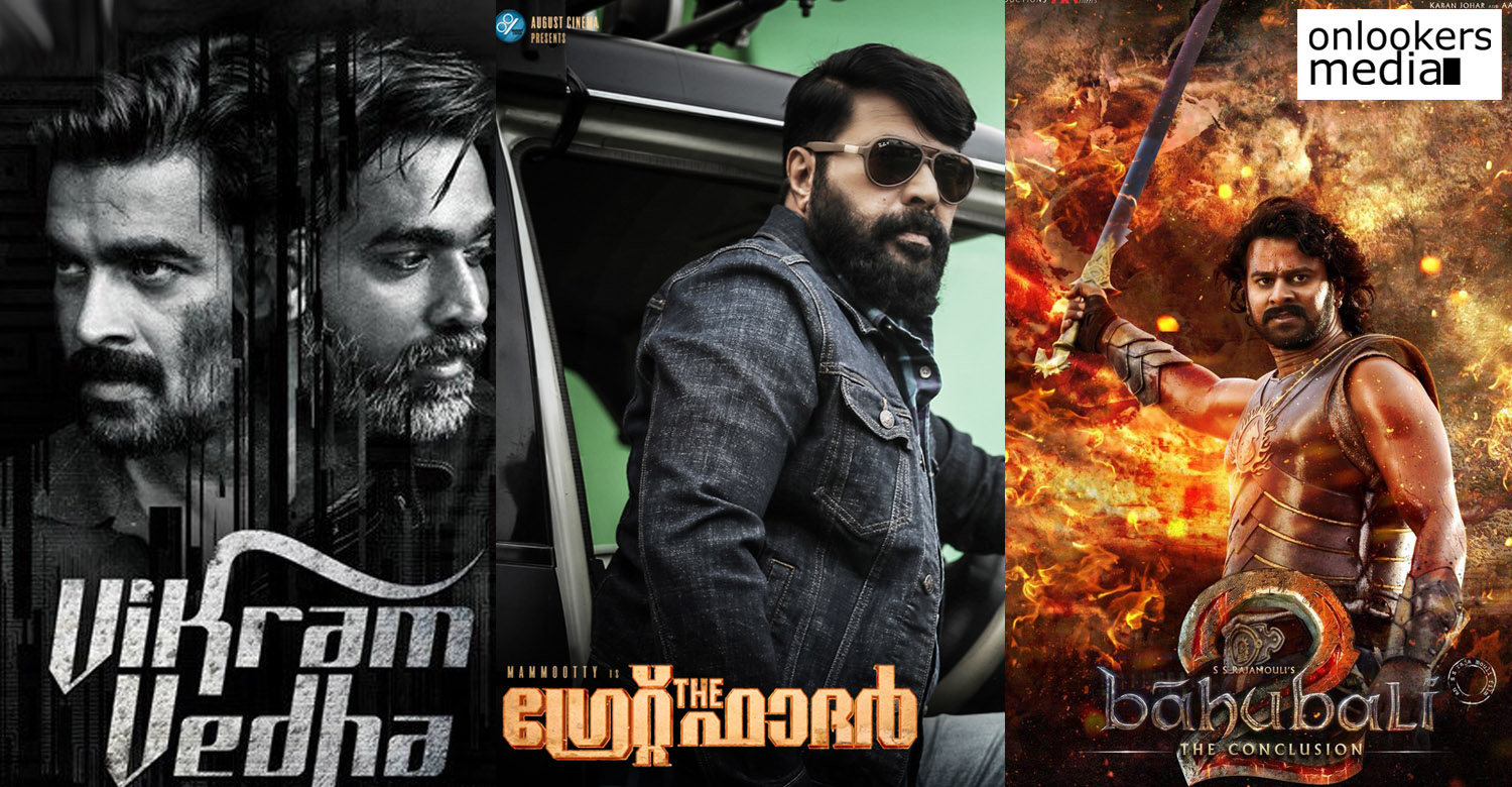 the great father latest news, mammootty latest news, the great father in imdb list, baahubali 2 latest news, vikram vedha latest news, vikram vedha in imdb list, baahubali 2 in imdb list