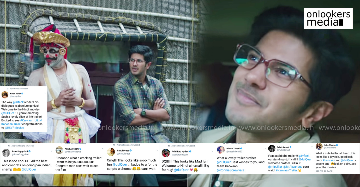 karwaan,karwaan movie,karwaan movie latest news,karwaan movie news,karwaan dulquer salmaan's movie,dulquer salmaan,dulquer salmaan's latest news, Rana Daggubati, Rana Daggubati tweet about dulquer salmaan, Aditi Rao Hydari, Aditi Rao Hydari's tweet about dulquer salmaan, Neha Sharma, Neha Sharma's tweet about dulquer salmaan, Rakul Preet, Rakul Preet's tweet about dulquer salmaan, Pulkit Samrat, Pulkit Samrat's tweet about dulquer salmaan, Akhil Akkineni, Akhil Akkineni tweet about dulquer salmaan