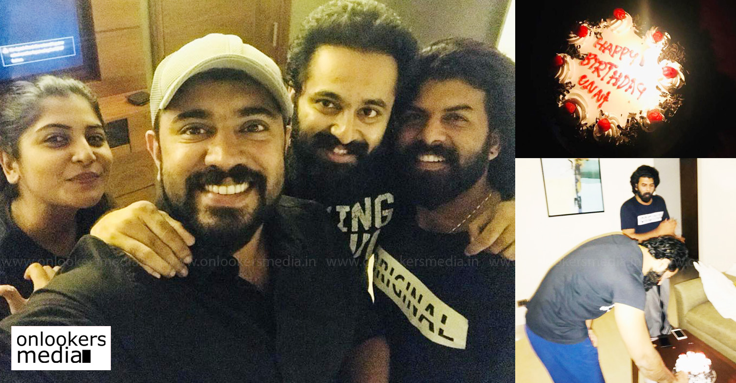 unni mukundan,nivin pauly,actor nivin pauly wishes unni mukundan's birthday,unni mukundan's latest news,nivin pauly's latest news,unni mukundan's birthday celebration at mikhael set