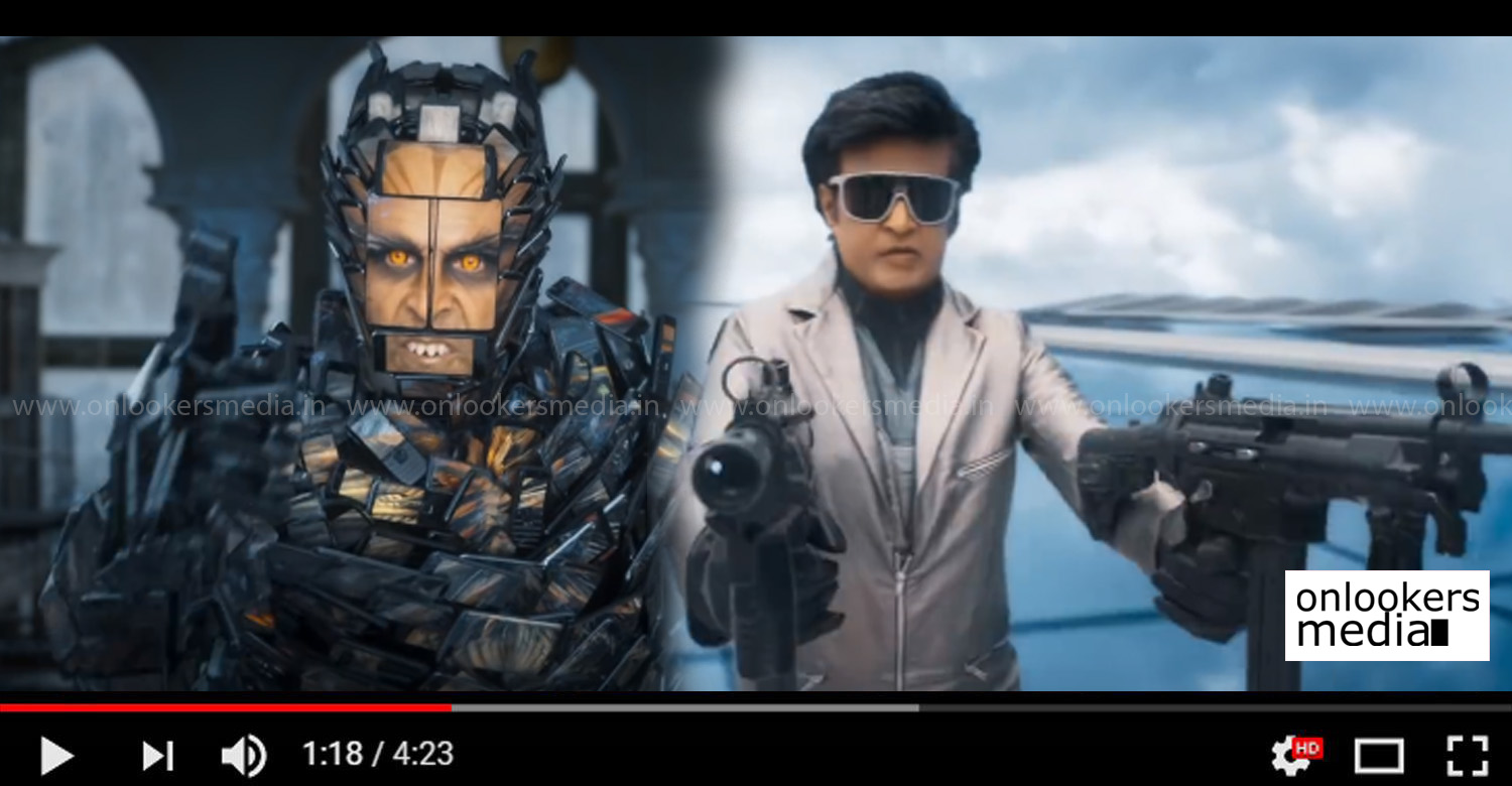 2.0 trailer,2.0 official trailer,superstar rajinikanth's 2.0 trailer,akshay kumar's 2.0 trailer,director shankar's 2.0 trailer,rajinikanth,akshaay kumar,director shankar,ar rahman,Amy Jackson