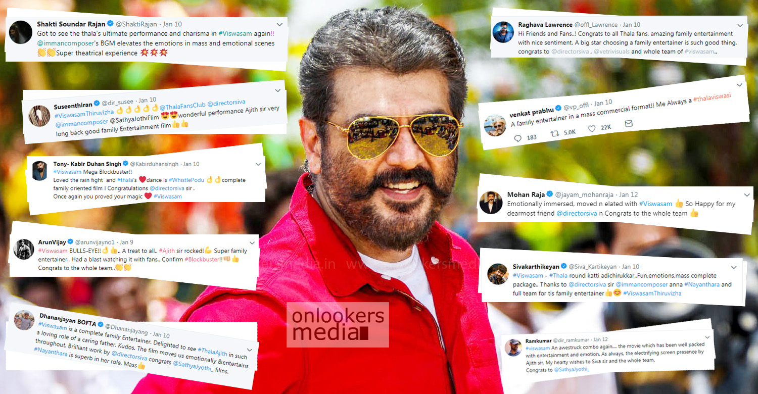 Viswasam,Viswasam movie latest news,thala ajith,director siva,kollywood celebrities about viswasam,kollywood celebrities tweet about viswasam,celebrities about viswasam;