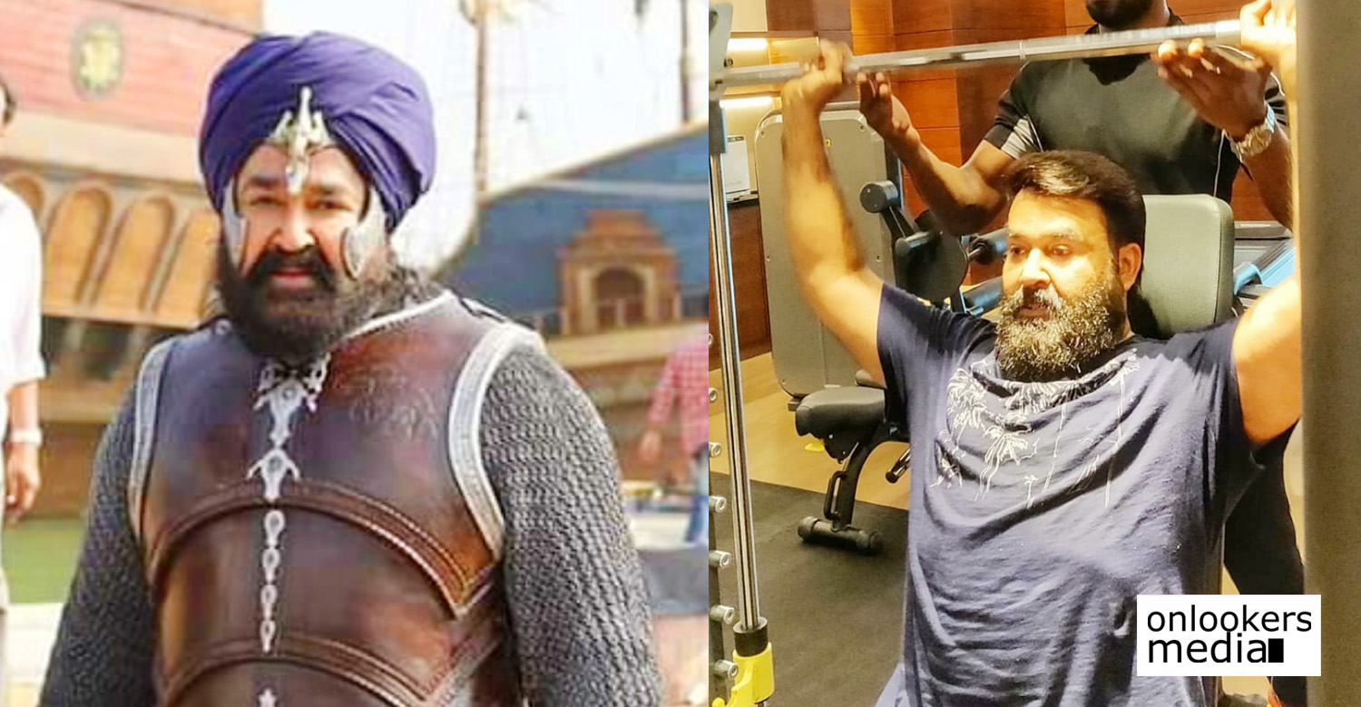 mohanlal,mohanlal's latest workout pic,mohanlal workout stills,lalettan's latest workout pics,marakkar arabikadalinte simham,kunjali marakkar,marakkar movie,mohanlal workout marakkar movie,mohanlal's new workout still