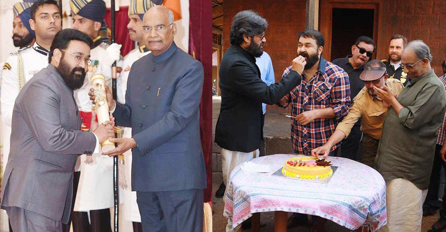 mohanlal,marakkar arabikadalinte simham,priyadarshan,sabu cyril,padma awards 2019,suniel shetty,marakkar movie,Mohanlal celebrates Padma Bhushan win with Marakkar crew