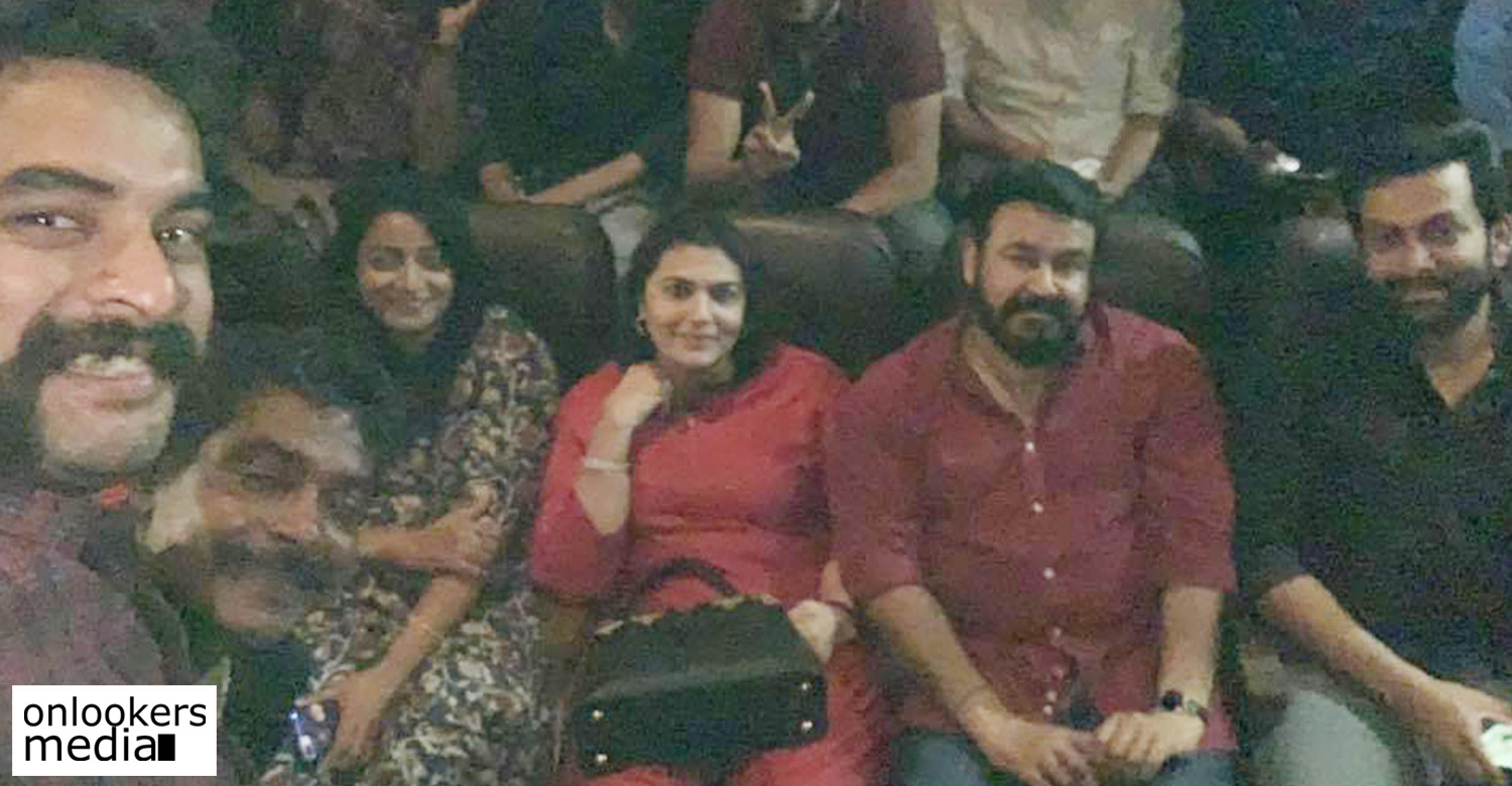 Mohanlal, Prithviraj and Tovino watch Lucifer with fans,Lucifer,tovino thomas,lucifer movie news,tovino thomas mohanlal prithviraj watching lucifer,mohanlal and prithviraj watching lucifer,mohanlal watching lucifer with tovino and prithviraj