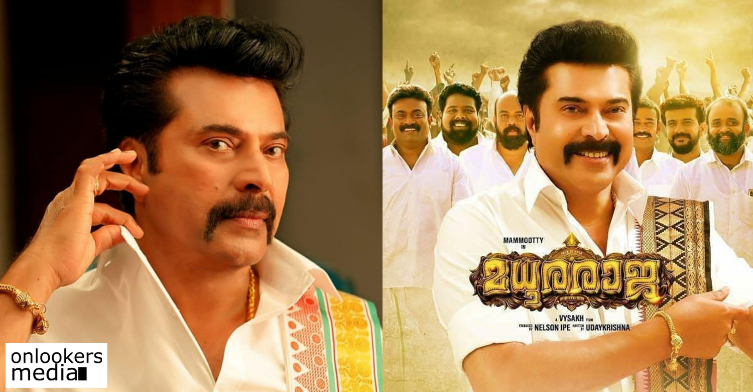 Madhura Raja,Madhura Raja news,Madhura Raja movie updates,Madhura Raja movie poster,Madhura Raja mammootty new movie,mammootty in Madhura Raja,Madhura Raja movie stills,director vysakh,peter hein,megastar mammootty