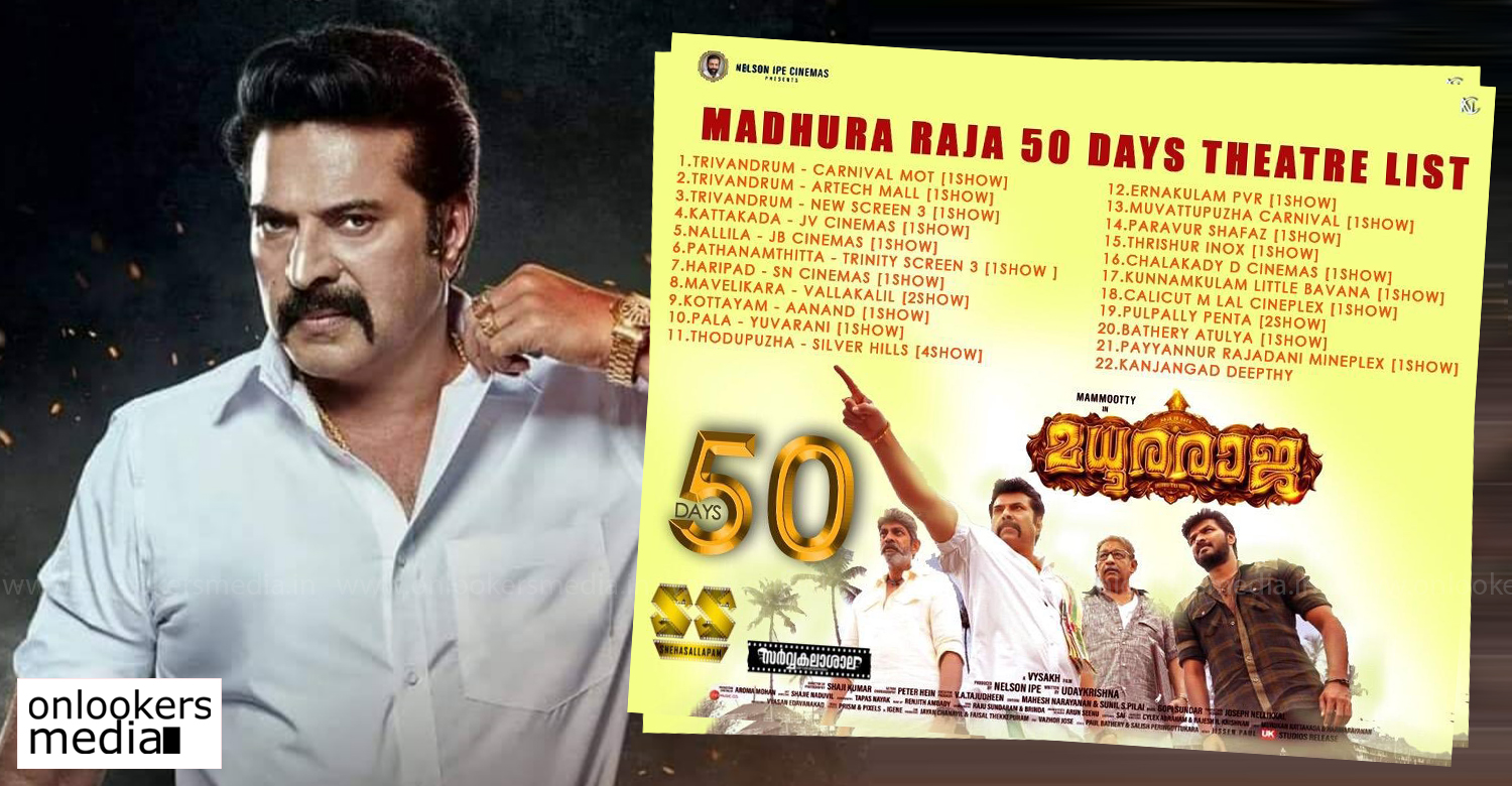 madhura raja,madhura raja 50 days theater list,mammootty,vysakh,madhura raja news,madhura raja latest updates,mammootty's madhura raja 50 days theatre list,mammootty's hit movie madhura raja 50 days theatre list