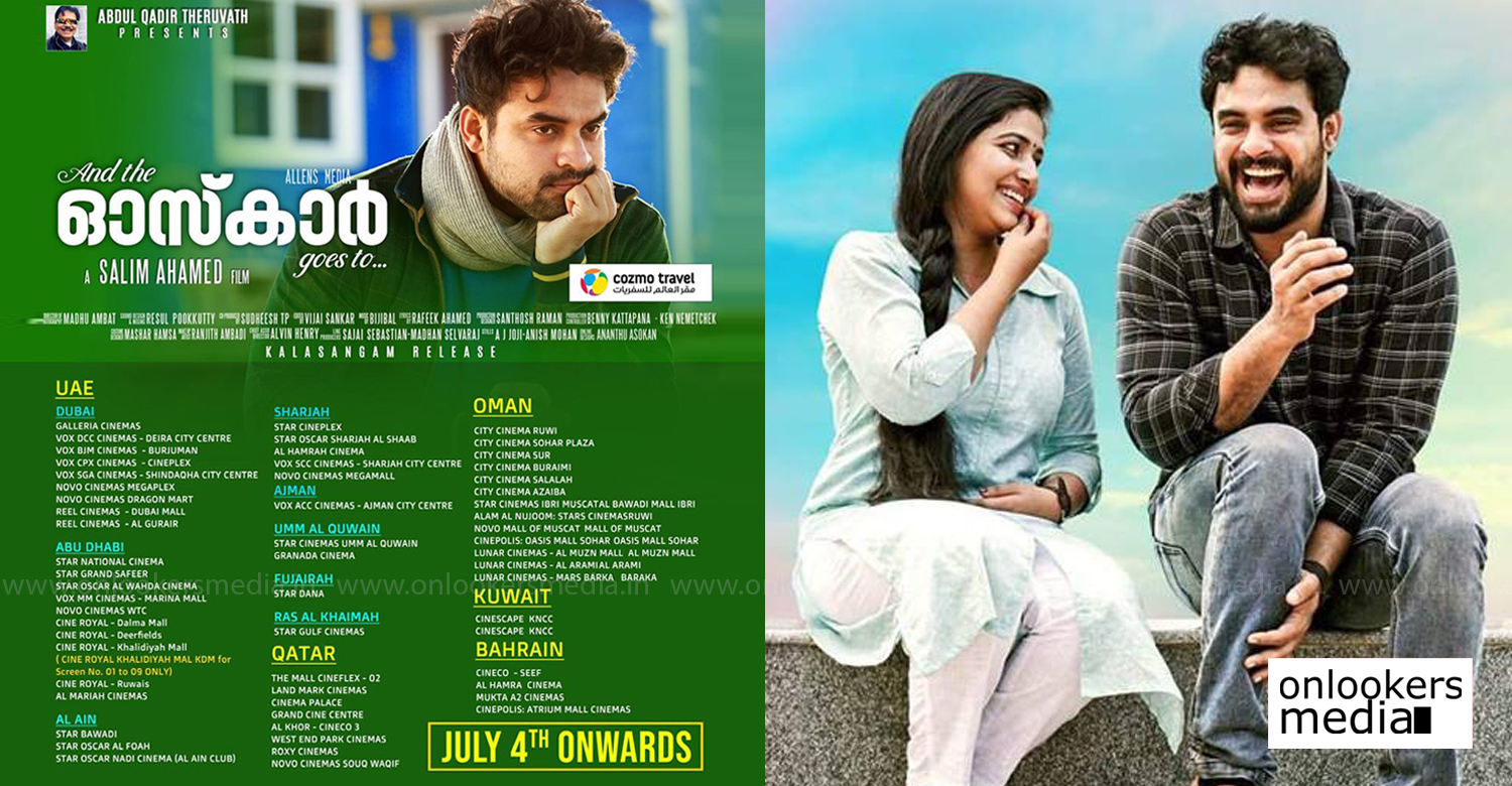 And The Oskar Goes To gcc release,And The Oskar Goes To gcc theatre list,And The Oskar Goes To UAE release,And The Oskar Goes To UAE theatre list,And The Oskar Goes To updates,And The Oskar Goes To latest news,tovino thomas,salim ahamed