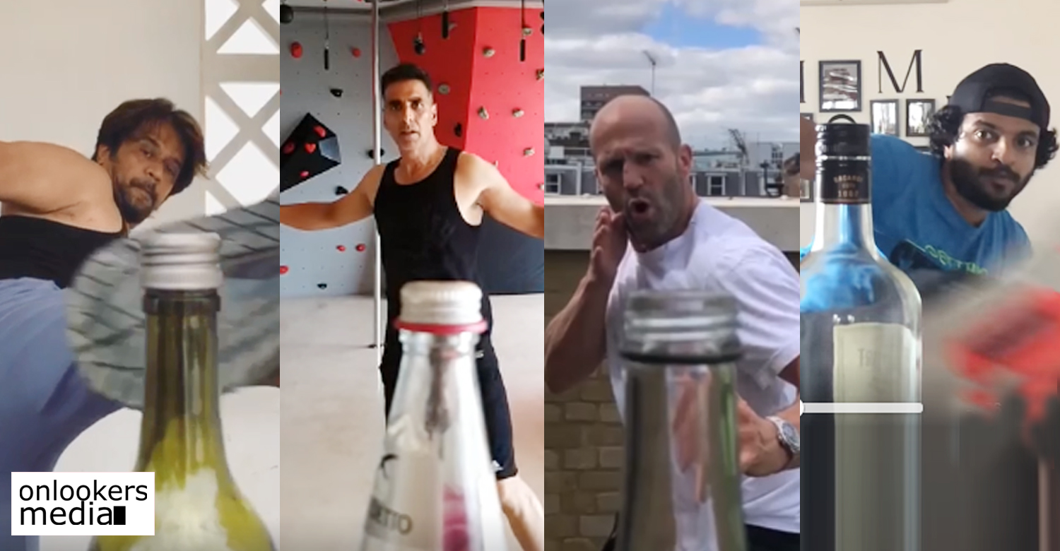 Bottle Cap challenge,akshay kumar,neeraj madhav,Arjun Sarja,Jason Statham,Bottle Cap challenge celebrities videos