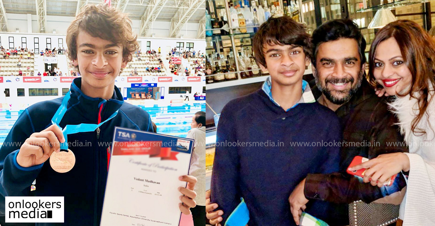 actor Madhavan,Madhavan's son Vedaant,Madhavan's son Vedaant at Asian Games,actor madhavan's son,vedaant madhavan,vedaant madhavan asian games,Asian Age Group Swimming Championships,vedaant madhavan Asian Age Group Swimming Championships