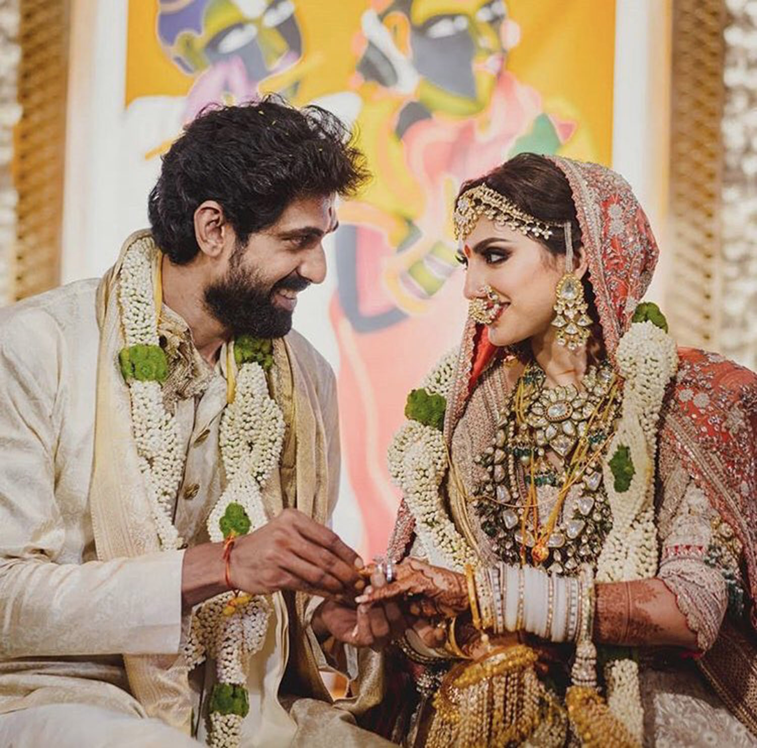 Rana Daggubati reception photos Rana Daggubati wedding reception stills ,Rana Daggubati wedding receptio images ,Rana Daggubati wedding stills ,Rana Daggubati wife ,Rana Daggubati family photos ,Rana Daggubati couple stills;