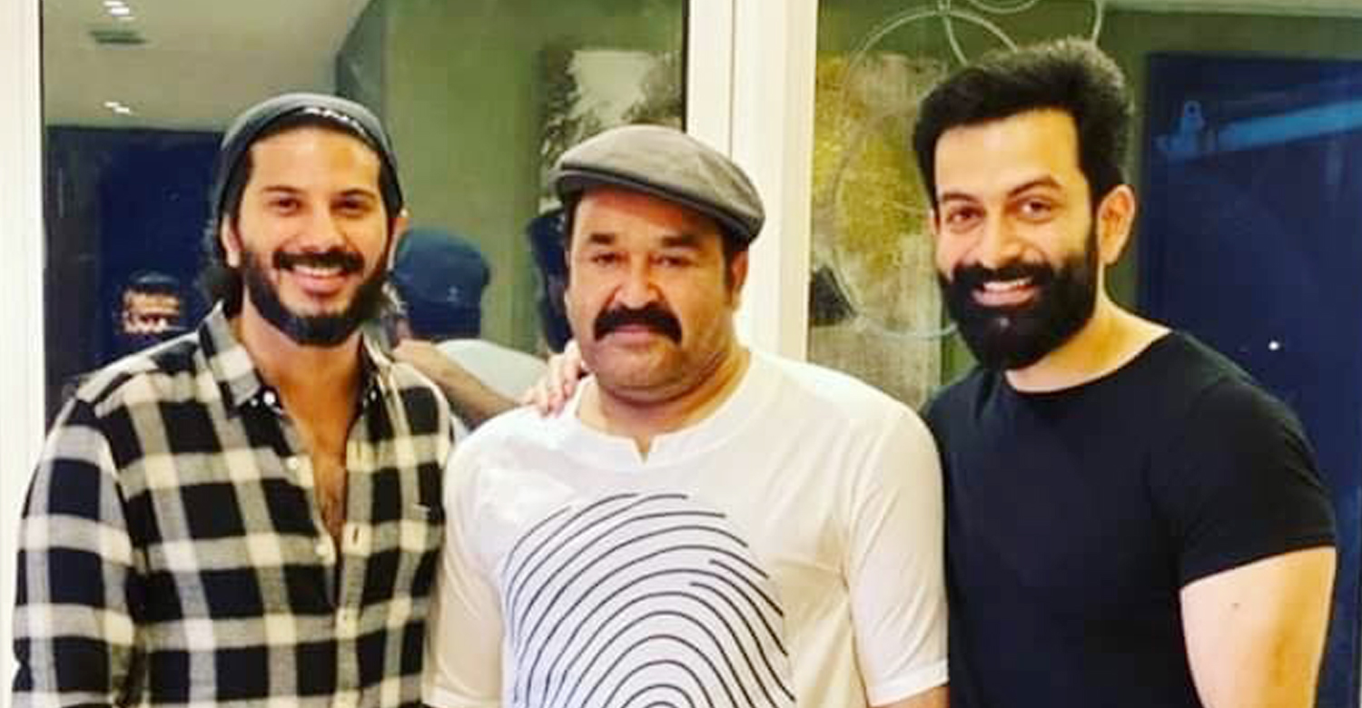 mohanlal,prithviraj,dulquer salmaan,A new photo of Malayalam superstars Mohanlal, Prithviraj Sukumaran dulquer salmaan,new photo of Malayalam superstars,prithviraj and dulquer with mohanlal,mohanlal new look images,mohanlal new movie look,prithviraj latest images,dulquer salmaan latest look,malayalam film,mollywood actors