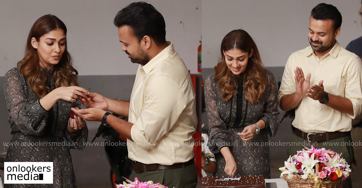 nizhal malayalam movie,nayanthara,nizhal team celebrate nayanthara birthday,nayanthara's birthday celebration nizhal set