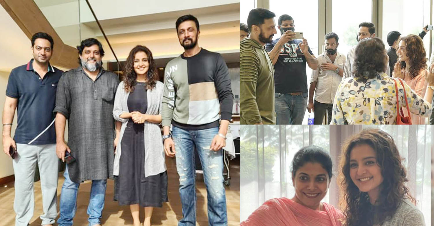 Manju Warrier,Kichcha Sudeep,Lalitham Sundaram,madhu warrier,Kannada actor Kichcha Sudeep and his wife Priya Sudeep,actor Kichcha Sudeep and his wife Priya Sudeep manju warrier,latest malayalam cinema news,manju warrier with kichcha sudeep